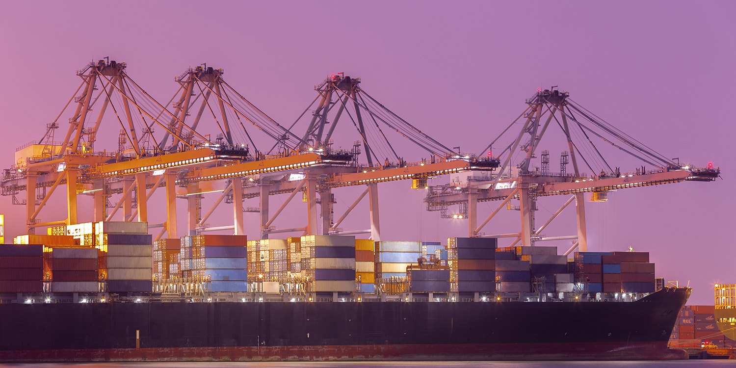 Industrial Container Cargo freight ship at habor for Logistic Im